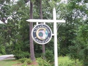 Sign at front entrance of Charleston Landing